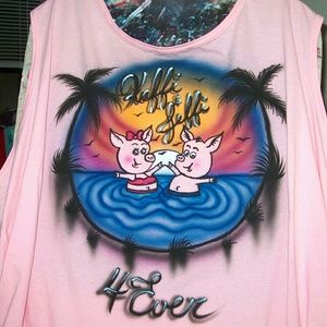 LOVER PIGS Airbrushed T-shirt Custom Made to Order